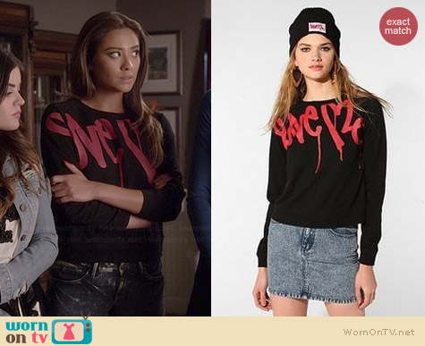 Love Me by Curtis Kulig Graffiti Sweatshirt worn by Shay Mitchell on PLL