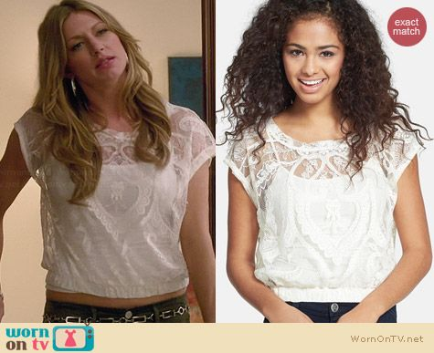 Love on a Hanger Lace Crop Top worn by Jess Macallan on Mistresses