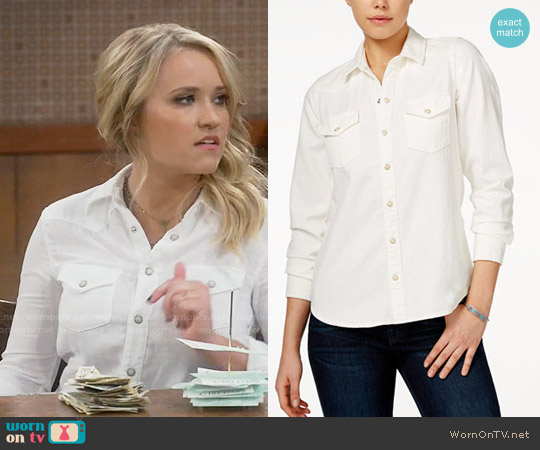 Lucky Brand Classic Western Shirt worn by Emily Osment on Young & Hungry