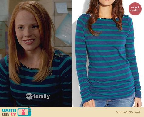 Lucky Brand Blue Boatneck Stripe Top worn by Katie Leclerc on Switched at Birth