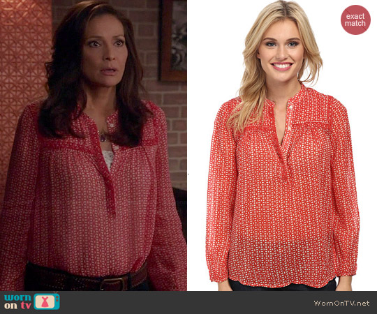Lucky Brand Ditzy Peasant Top worn by Constance Marie on Switched at Birth