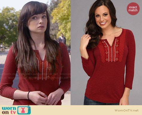 Lucky Brand Embroidered Bib Top in Biking Red worn by Ashley Rickards on Awkward