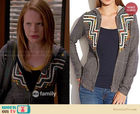 Lucky Brand Embroidered Hoodie worn by Katie Leclerc on Switched at Birth