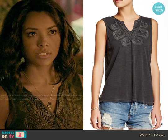 Lucky Brand Embroidered Bib Tank worn by Kat Graham on The Vampire Diaries