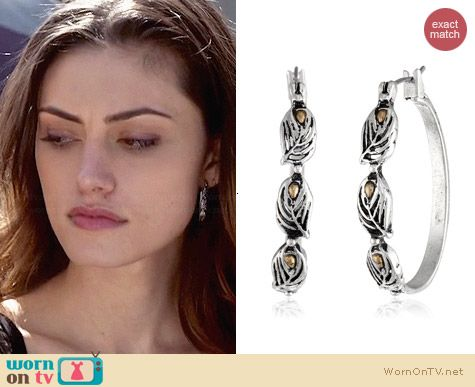 Lucky Brand Feather Hoop Earrings worn by Phoebe Tonkin on The Originals