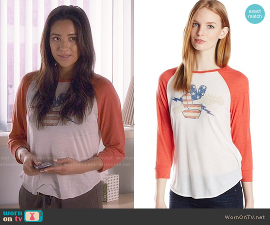 Lucky Brand Fender Rock Raglan Tee worn by Shay Mitchell on PLL