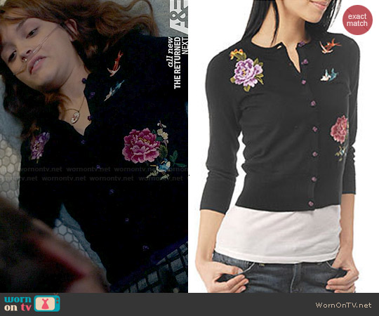Lucky Brand Floral Bird Embroidered Cardigan worn by Olivia Cooke on Bates Motel