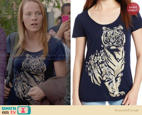 Lucky Brand Floral Tiger Tee worn by Katie Leclerc on Switched at Birth
