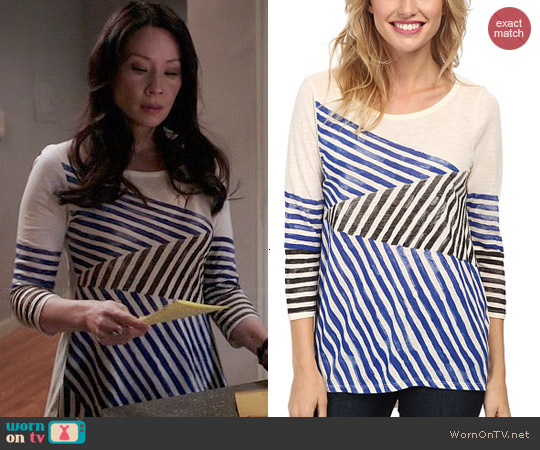 Lucky Brand Geo Stripes Tee worn by Lucy Liu on Elementary