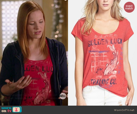 Lucky Brand Golden Luck Tee worn by Katie Leclerc on Switched at Birth
