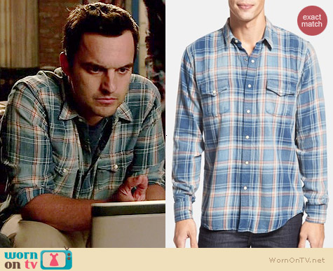 Lucky Brand Grom Plaid Western Shirt worn by Jake Johnson on New Girl