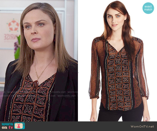 Lucky Brand Kaylee Peasant Top worn by Emily Deschanel on Bones