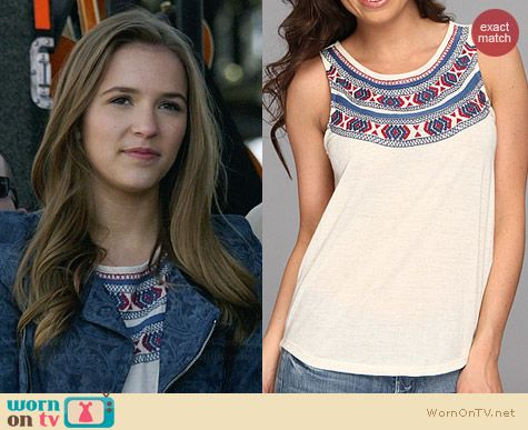 Lucky Brand Madera Embroidered Top worn by Lennon Stella on Nashville
