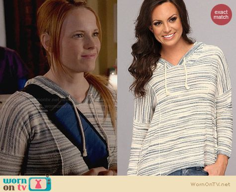 Lucky Brand Malibu Stripe Hoodie worn by Katie Leclerc on Switched at Birth