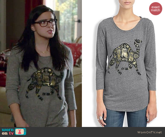 Lucky Brand Metallic Camel Tee worn by Ariel Winter on Modern Family