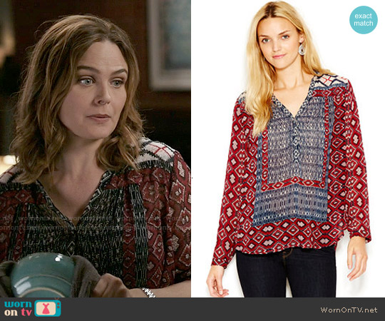 Lucky Brand Mixed Border Printed Peasant Top worn by Emily Deschanel on Bones