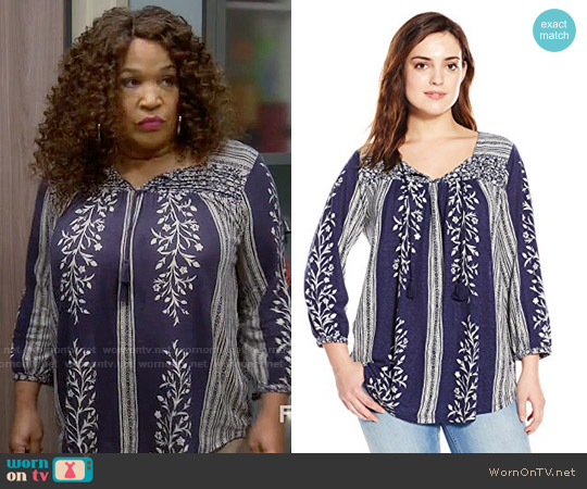 Lucky Brand Mixed Print Top worn by Kym Whitley on Young & Hungry
