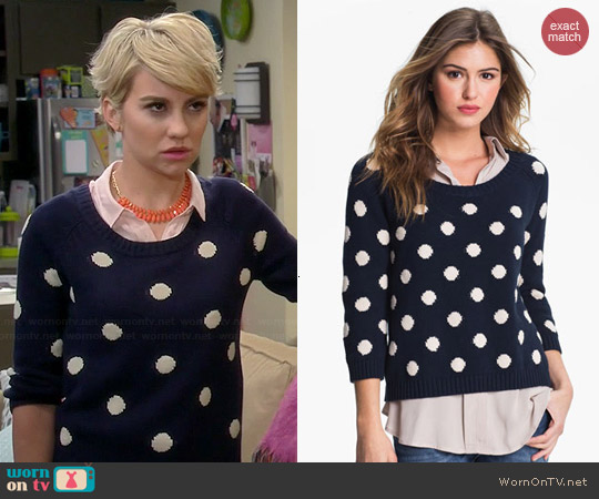 Lucky Brand Paula Polka Dot Sweater worn by Chelsea Kane on Baby Daddy