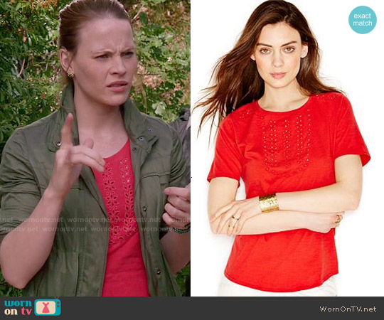 Lucky Brand Eyelet Blouse worn by Katie Leclerc on Switched at Birth