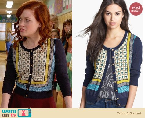 Lucky Brand Simoni Scarf Cardigan worn by Jane Levy on Suburgatory