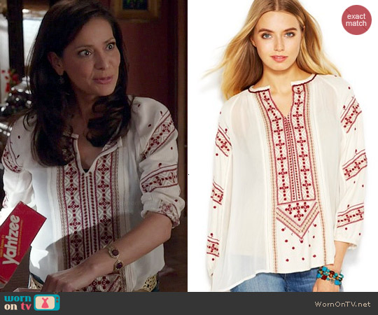 Lucky Brand Three-quarter sleeve embroidered top worn by Constance Marie on Switched at Birth