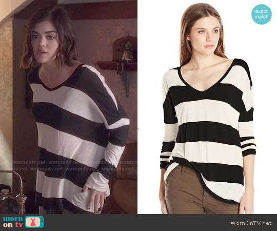 Lucky Brand Wide Stripe Top worn by Lucy Hale on PLL