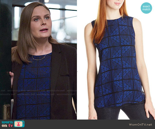 Lucky Brand Zig Zag Print Top worn by Emily Deschanel on Bones