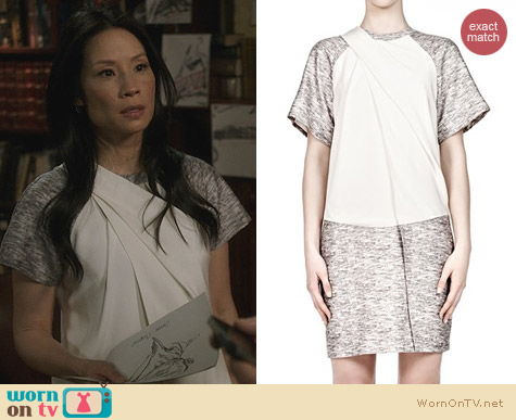 Lucy Liu Fashion: Alexander Wang Draped Neck Tshirt Dress worn on Elementary
