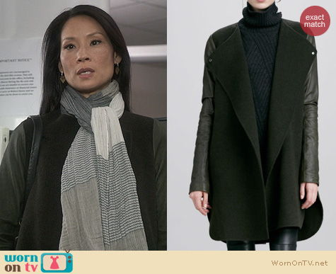 Lucy Liu Fashion: Vince Leather Sleeve coat worn on Elementary