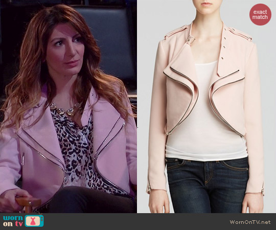 Lucy Paris Crop Moto Jacket worn by Nasim Pedrad on Mulaney