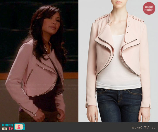 Lucy Paris Crop Moto Jacket worn by Naya Rivera on Glee