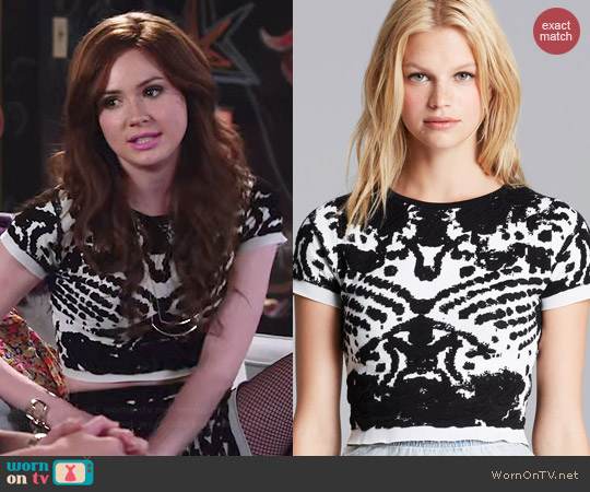 Lucy Paris Intarsia Crop Top worn by Karen Gillan on Selfie