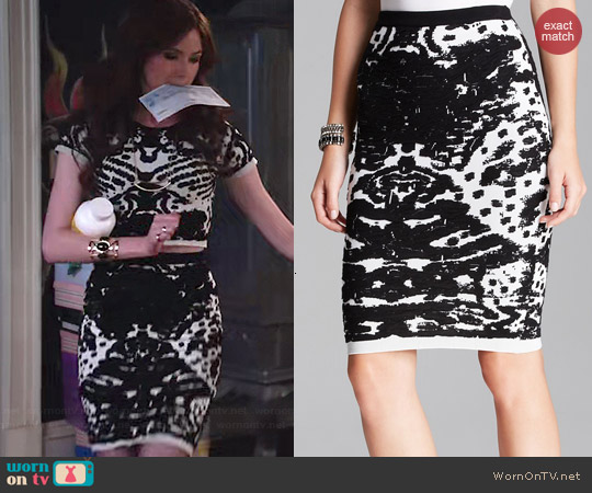 Lucy Paris Intarsia Pencil Skirt worn by Karen Gillan on Selfie
