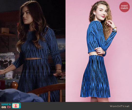 Lucy Paris Marceau Intarsia Top & Skirt worn by Lucy Hale on PLL