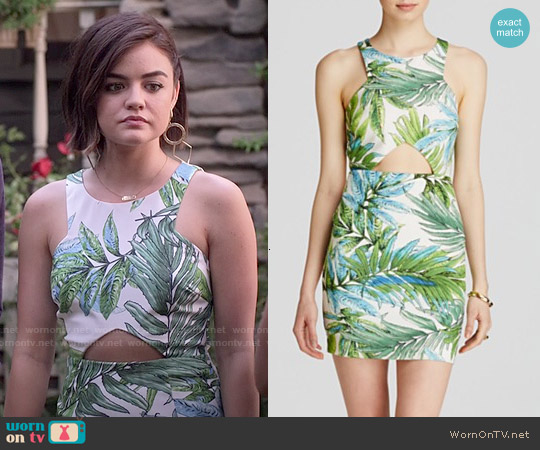 Lucy Paris Tropical Print Cutout Dress worn by Lucy Hale on PLL