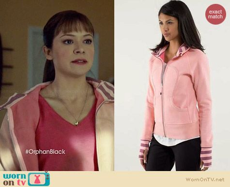 Lululemon Scuba Hoodie in Bleached Coral Guava/Lava Micro Macro Stripe worn by Tatiana Maslany on Orphan Black