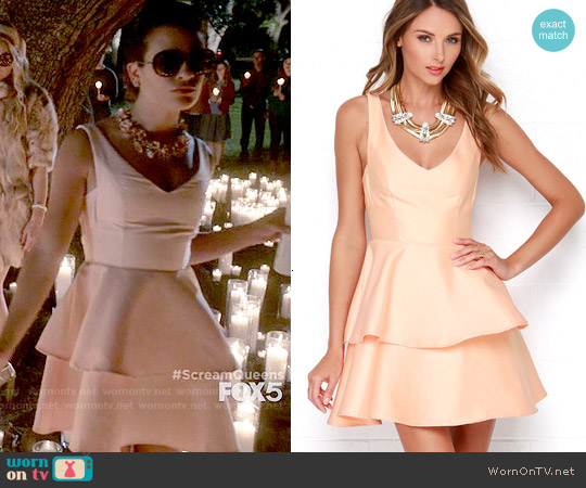 Lulus Ruffles and Truffles Peach Skater Dress worn by Lea Michele on Scream Queens