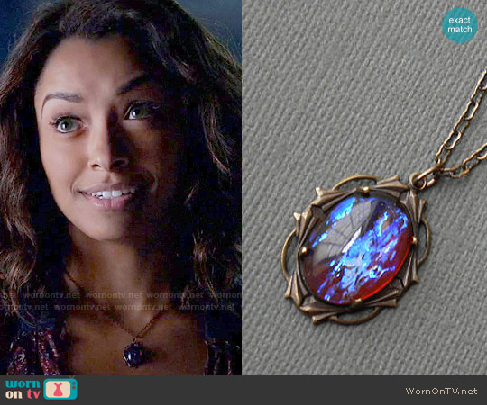 Luna Jewelry Dragon's Blood Amulet Necklace worn by Bonnie Bennett on The Vampire Diaries
