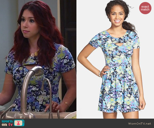 Lush Floral Print Cutout Skater Dress worn by Jillian Rose Reed on Awkward
