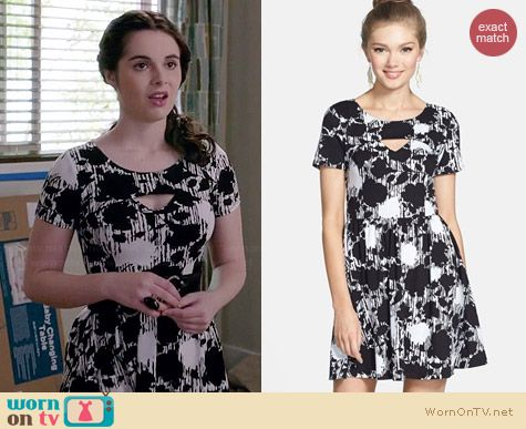 Lush Floral Print Cutout Skater Dress worn by Vanessa Marano on Switched at Birth