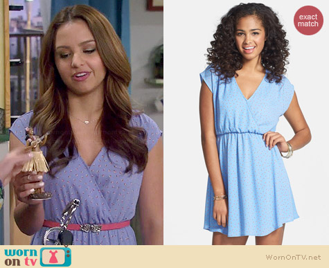 Lush Katie Surplice Skater Dress worn by Aimee Carrero on Young & Hungry