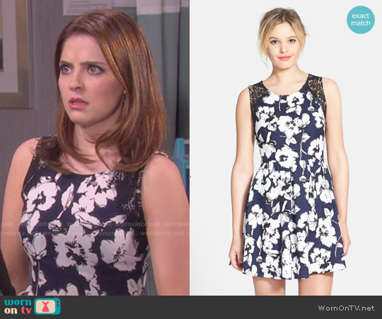Lush Lace Trim Pleated Skater Dress worn by Jen Lilley on Days of our Lives