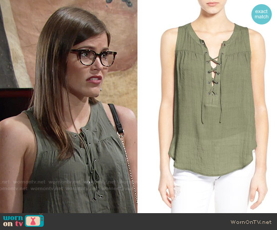 Lush Lace-up Woven Tank in Dusty Olive worn by Mara McCaffray on The Young & the Restless