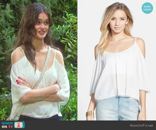 Lush Pom Trim Cold Shoulder Top worn by True O'Brien on Days of our Lives