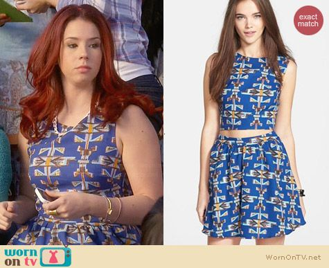 Lush Printed Crepe Skater Skirt & Crop Top worn by Jillian Rose Reed on Awkward
