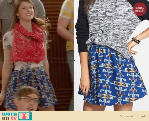 Lush Print Crepe Skater Skirt worn by Melissa Benoist on Glee