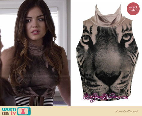 Lush Tiger Crop Top worn by Lucy Hale on PLL