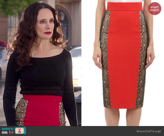 L'Wren Scott Lace Inset Pencil Skirt worn by Madeleine Stowe on Revenge