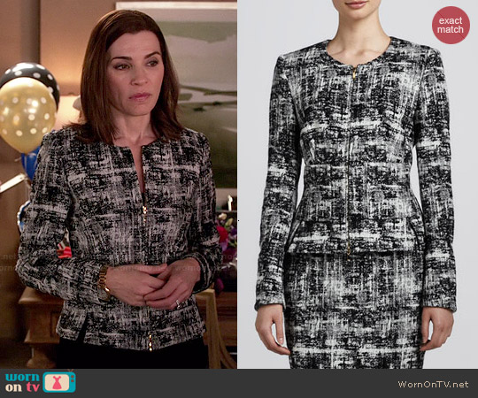Escada Scribble Tweed Jacket worn by Julianna Margulies on The Good Wife