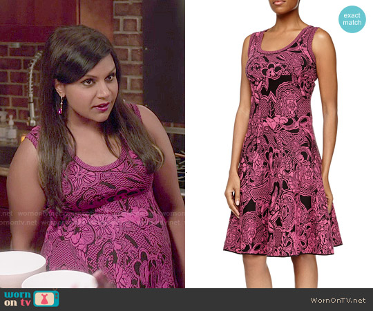 M Missoni Floral Intarsia-Knit Dress worn by Mindy Kaling on The Mindy Project